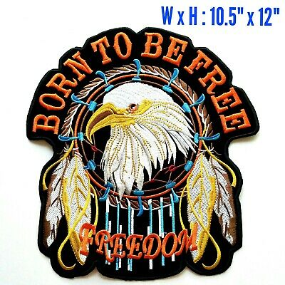 Large Born To Be Free Eagle American Dream Catcher Harley Davidson Iron On Patch