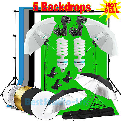 Photo Studio Background Umbrella Support Continuous Lighting Kit 5 Backdrops UK