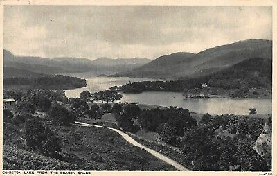 Postcard Coniston Lake from the Beacon Crags Lancashire Photochrom