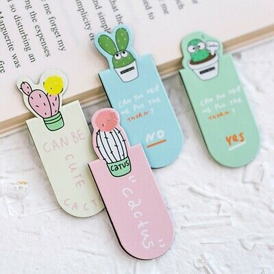 3Pcs Fresh Cute Cactus Magnetic Bookmarks School Office Supplies Stationery New