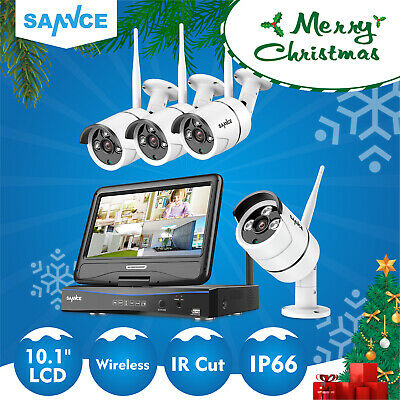 "SANNCE Wireless Wifi 10.1""LCD Monitor NVR Outdoor Security CCTV Camera System UK"