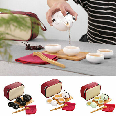 Portable outdoor Travel Ceramic Teacup Set Tea Mug Pot Tray with Storage Bag