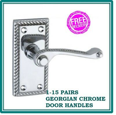 7 PAIRS of Polished CHROME /'Scroll/' Lever Latch Door Handles D9