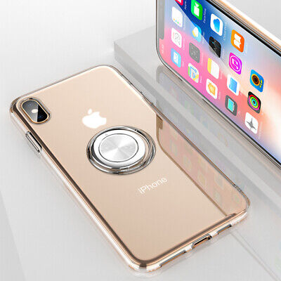 For i Phone Xs Max 8 7 6 Shockproof Clear TPU Case Cover Magnetic Ring Kickstand