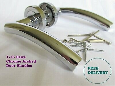 ARCHED CHROME 1-15 PACKS  Interior Door Handles Round Rose FREE DELIVERY D12
