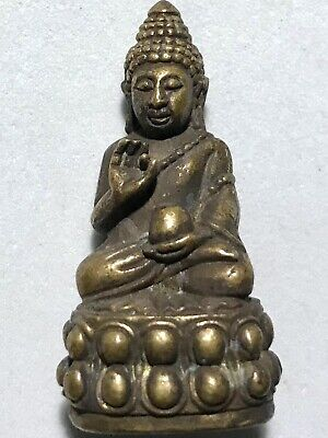 Phra Kring Lp Rare Old Thai Buddha Amulet Pendant Magic Ancient Idol#16