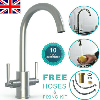 Twin Lever Traditional Brass Kitchen Sink Mixer Mono Tap Solid Brass Chrome UK