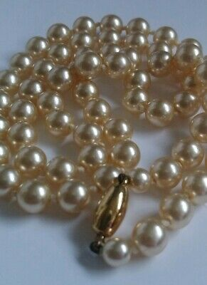 Vintage Hand Knotted Stimulated Pearl  Necklace Gold Clasp Faux Iridescent Retro