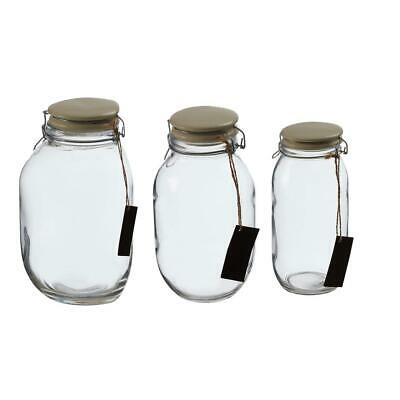 Clear Glass Kitchen Storage Jars   Large, Medium, & Small with Lid & Name Label