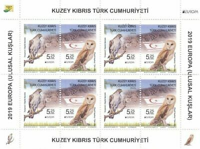 TURKISH NORTHERN CYPRUS/2019 - (SHEET) EUROPA CEPT STAMPS (BIRDS) (Owl), MNH