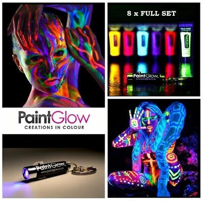 8 x10 ml each UV Paint Glow Neon Fluorescent Face & Body Paint Set Wax Based