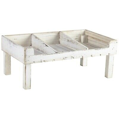 Genware Wooden Display Crate Stand - 3 sections - White Wash Finish - 53 x 32 x