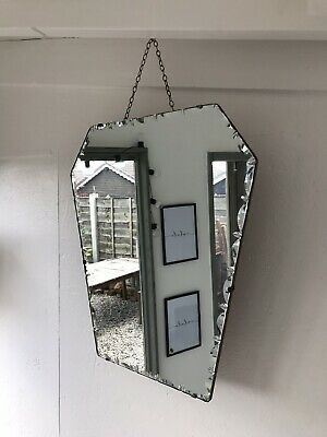 Vintage Frameless Mirror art deco beveled edged frameless Oval mirror Patina