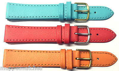 18mm GENUINE QUALITY LEATHER COLOURFUL WATCH STRAP BAND Gold or Silver Buckle