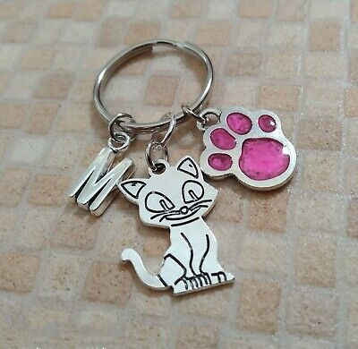 Personalised Initial Keyring with a Cute Cat/Enamel Pink Paw Charm - Lovely Gift