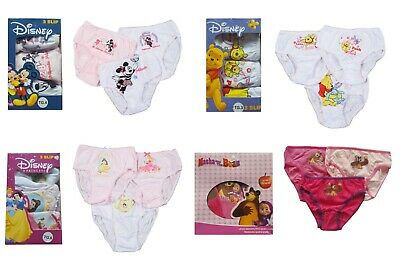 Girls Briefs Knickers Underwear 3 Pack Disney Masha and The Bear Winnie Pooh