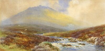 Frederick Parr, Dartmoor Stream - Early 20th-century watercolour painting