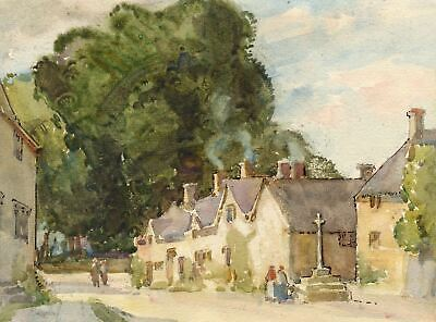 Ethel M. Mallinson, Village Street with Stone Cross - c.1920s watercolour