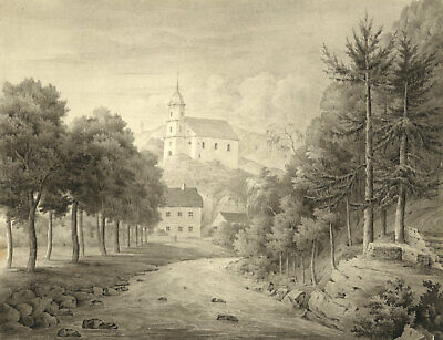 John Dugmore, Bergkirche, Tharandt near Dresden - Early 19th-century watercolour