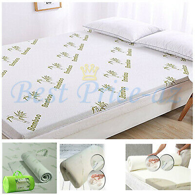 Memory Foam Mattress Topper Bamboo Orthopedic 1, 2 Thick  Zipped Cover All Sizes