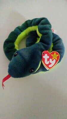 Ty Beanie Baby Hissy The Snake 1997 Retired PE Plush Toy MWMT Free Shipping