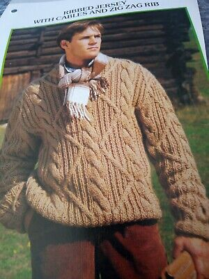 Knitting pattern Elle 8411 for a Gents double knit cabled round neck sweater