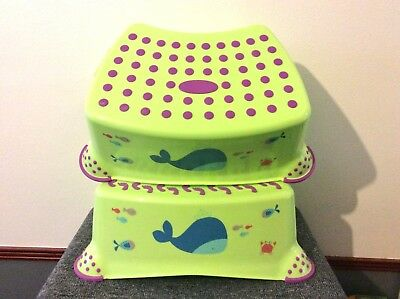Pack of 2 step stool plastic safety children foot stool bath seat footstool