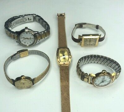 E Lot 5 Vtg Retro Timex Gold Tone Electric Indiglo Needs Batteries