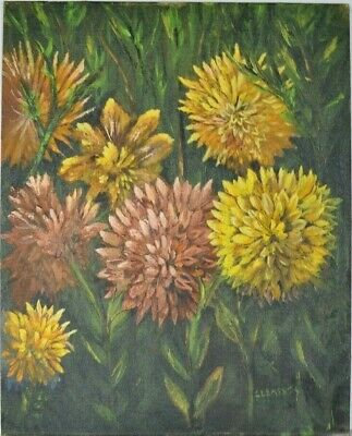 """Vintage Floral Oil Painting, 15"""" x 19"""" Signed, Yellow, Pink & Orange Mums"""