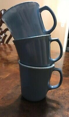 Vintage PYREX COFFEE CUPS - TEA MUGS - Blue Slate Milk Glass - Lot of 3