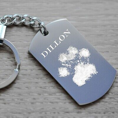 Pet memorial Keyring.  Engraved Dog / Cat Paw Print / Photo / Text