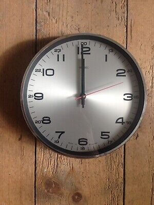 Super Vintage Retro 1960'S/70'S Silver Navy Plastic Metamec Electric Wall Clock