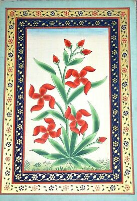 Red Jasmine Flower Handmade Miniature Painting With Gold Color Floral Border