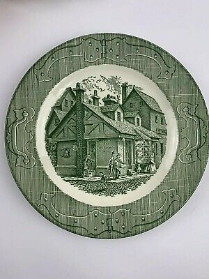 The Old Curiosity Shop  Cottage Scene  VINTAGE China Dinner Plate USA-GREEN