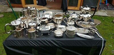 A Job Lot Of 25 Vintage Silver Plated Items.many Makers Names.10 Kgs In Weight.
