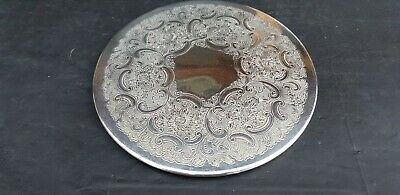 A Vintage Silver Plated Kettle Stand With Elegant Engraved Patterns.very ornate.