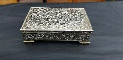 A Very Elegant Silver Plated Cigar Box With Respoused Patterns.very collectable.