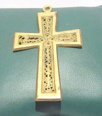 OUTSTANDING VINTAGE BRASS CROSS,ENGRAVING,EARLY 20th. Century !!! # 625