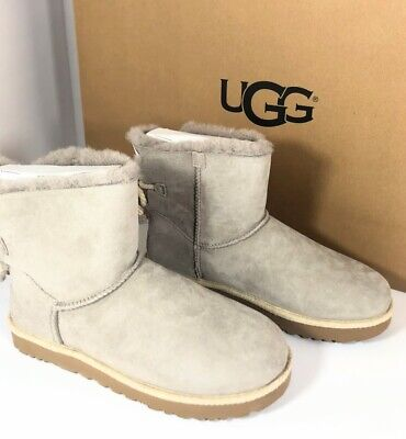 04050d2e78c UGG AUSTRALIA BOOTS Selene UGG Lamb Fur Bow Tie Leather Blue Booties ...