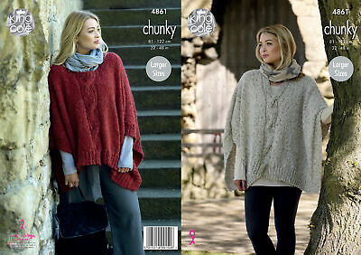 Ladies Cable Knit Poncho /& V Neck Tabard Chunky Knitting Pattern King Cole 4664