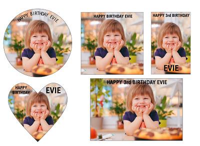 PERSONALISED PHOTO CAKE TOPPER EDIBLE - Up To 7.5Inches - DIFFERENT SHAPES