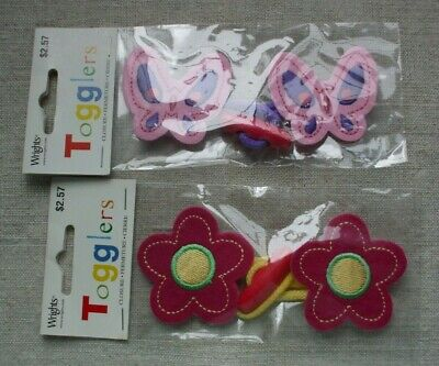 Wrights Togglers - kids toggle closures, flower butterfly