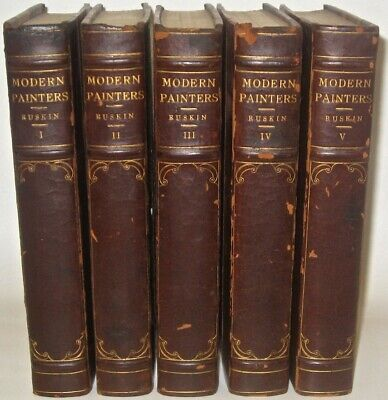 Leather Set; John Ruskin MODERN PAINTERS!! Set Art History JMW Turner RARE! Gift