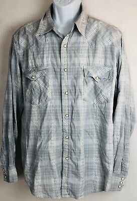 fedcb81a LUCKY BRAND Mens XL plaid cowboy western l/s pearl snap shirt Gray Blue