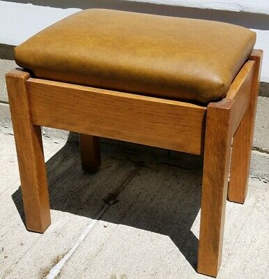 Antique 1902 Stickley Bros Quaint Furniture Stool Mission Oak Arts & Craft Brass