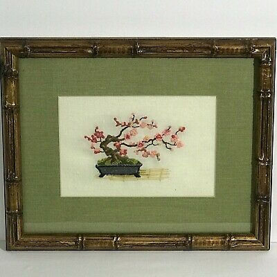 Framed Crewel Embroidery Needlework Bonsai Tree Blooms Asian Bamboo Matted 12x15
