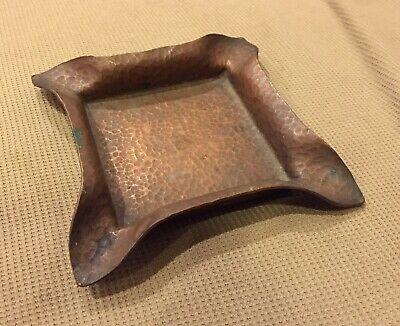 Vintage Arts And Crafts Hammered Copper Ash Tray