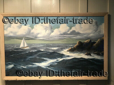 Hand Painted Signed Oil Painting Seascape Sailing Boat On Sea Landscape Cloud
