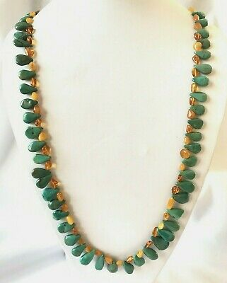 RARE Sterling Silver Butterscotch Baltic Amber & Turquoise Necklace