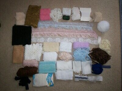Big Bag Of Old & New Lace X Many Metres, Colors, Widths - My Stash Of 30+ Years